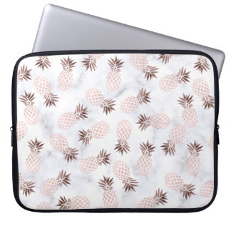 elegant modern white marble rose gold pineapple laptop sleeve