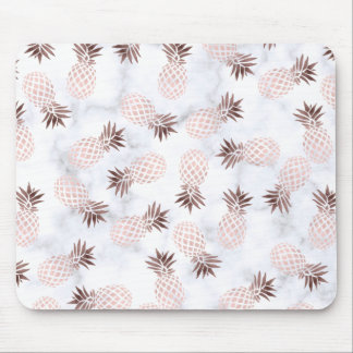 elegant modern white marble rose gold pineapple mouse mat