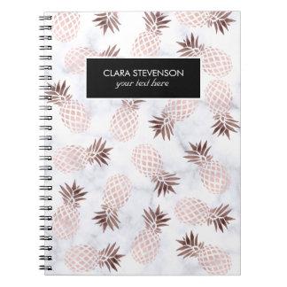 elegant modern white marble rose gold pineapple notebook
