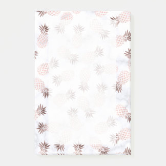 elegant modern white marble rose gold pineapple post-it notes