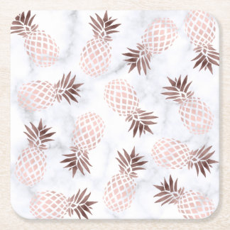elegant modern white marble rose gold pineapple square paper coaster