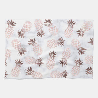 elegant modern white marble rose gold pineapple tea towel