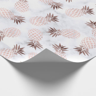 elegant modern white marble rose gold pineapple wrapping paper