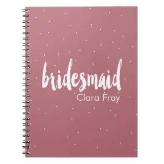 elegant modern white pink bridesmaid spiral notebook