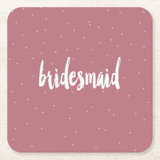 elegant modern white pink bridesmaid square paper coaster
