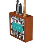 Elegant Modern Zebra Print Teal Desk Organiser