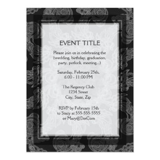 Elegant Mongogram in Silver and Grey Pattern 17 Cm X 22 Cm Invitation Card