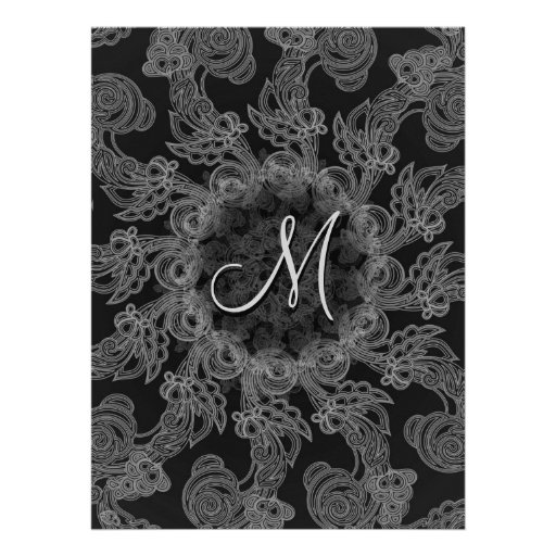 Elegant Mongogram in Silver and Grey Pattern Personalized Announcements