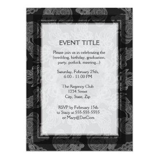 Elegant Mongogram in Silver and Grey Pattern 17 Cm X 22 Cm Invitation Card