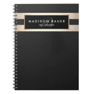 Elegant Monogam Striped Black and FAUX Gold Foil Notebook
