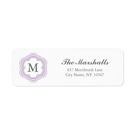 Elegant Monogram Address Label / Grey & Lavender