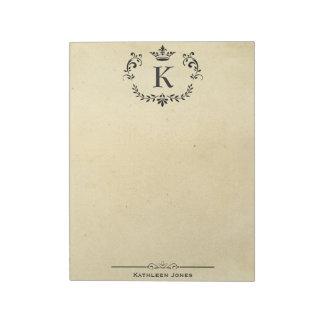 Elegant Monogram and Name | Custom Vintage Paper Notepads
