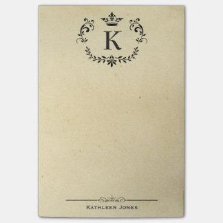 Elegant Monogram and Name | Custom Vintage Paper Post-it Notes