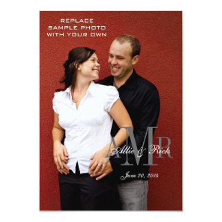 Elegant Monogram and Photo Wedding Invitations