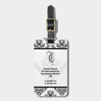 Elegant Monogram Black Damask Luggage Tag