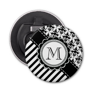 Elegant Monogram Black n White Stripes and Damask