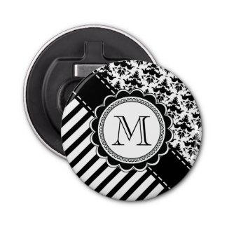 Elegant Monogram Black n White Stripes and Damask