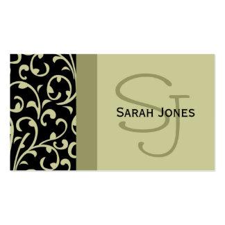 Elegant Monogram Black Sage Damask Business Card