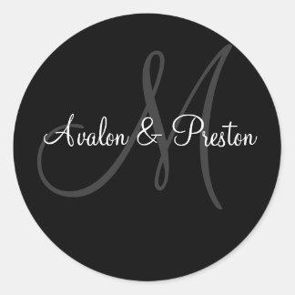 Elegant Monogram Black & White Wedding Sticker