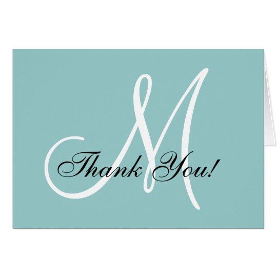 Elegant Monogram Blue Thank You Card