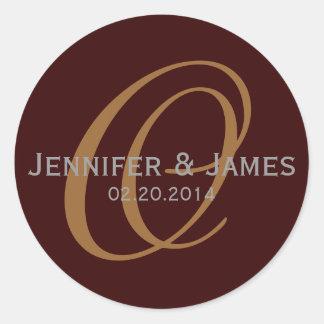 Elegant Monogram Brown Grey Wedding Favour Sticker