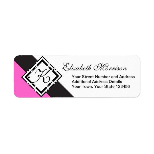 Elegant Monogram Chic Custom Black and Hot Pink