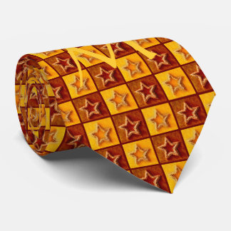 Elegant Monogram Christmas Tie with Stars Pattern