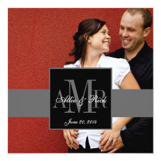 Elegant Monogram Couple Photo Wedding Invitation