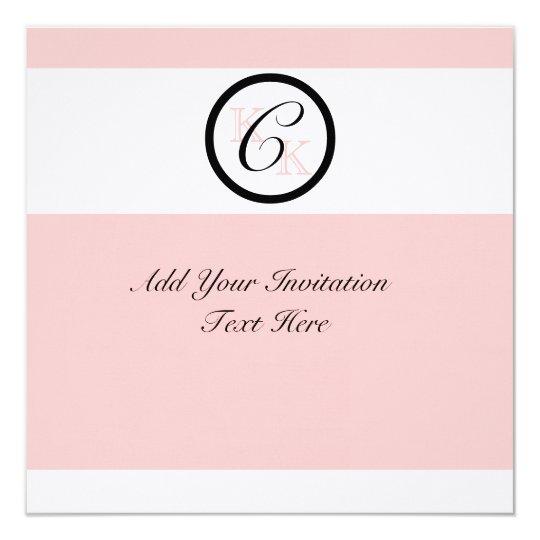 Elegant Monogram Custom Wedding Invitation Pink