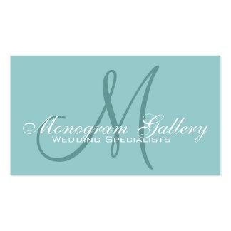 Elegant Monogram Customizable Aqua Business Card