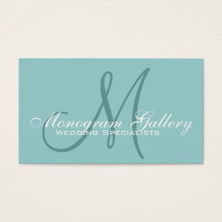 Elegant Monogram Customizable Aqua Business Card