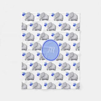Elegant Monogram Cute Baby Boy Elephants Nursery Fleece Blanket