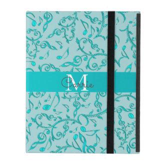 Elegant Monogram Cyan Music Notes iPad Case
