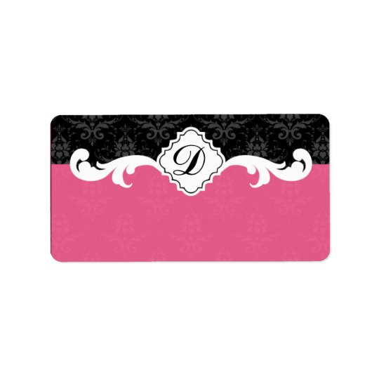 Elegant Monogram Damask Address Label