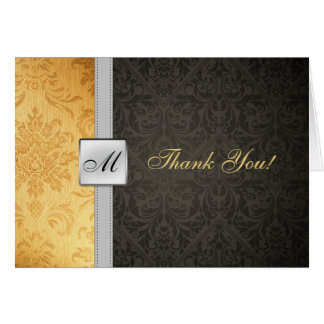 Elegant Monogram Damask Thank You Card
