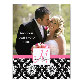 Elegant Monogram Damask  Wedding Photo Thank You 11 Cm X 14 Cm Invitation Card