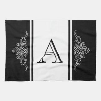 Elegant monogram design tea towel