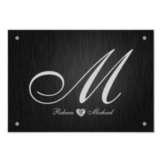Elegant Monogram  & Diamond Wedding RSVP Cards. 9 Cm X 13 Cm Invitation Card