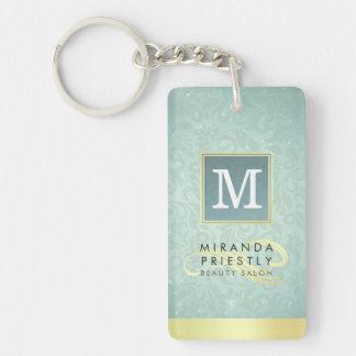 Elegant Monogram Faux Gold Turquoise Damask Floral Double-Sided Rectangular Acrylic Key Ring