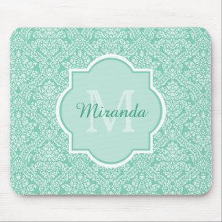 Elegant Monogram Feminine Mint Damask With Name Mouse Pad