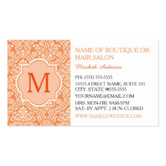 Elegant Monogram Feminine Orange Damask Hair Salon Standard Business Cards