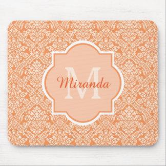 Elegant Monogram Feminine Orange Damask With Name Mouse Pad