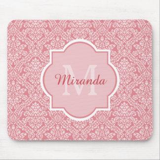 Elegant Monogram Feminine Pink Damask With Name Mouse Pad