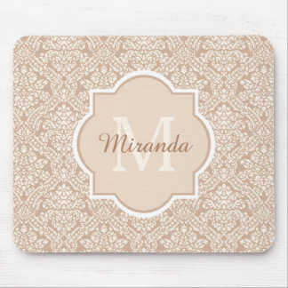 Elegant Monogram Feminine Tan Damask With Name Mouse Pad