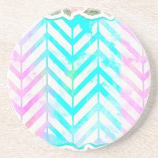 Elegant Monogram Floral pink and blue Coaster