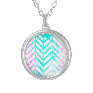 Elegant Monogram Floral pink and blue Silver Plated Necklace