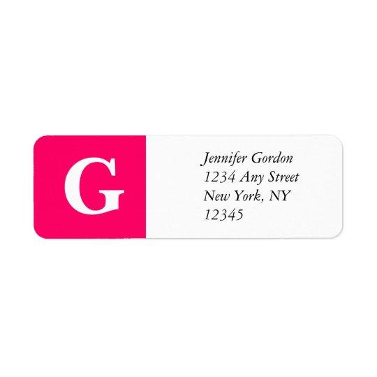Elegant Monogram G Return Adress Label Pink