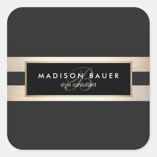 Elegant Monogram Gold and Black Striped Square Sticker
