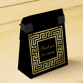 Elegant Monogram Gold Glitter Greek Key Black Favour Box