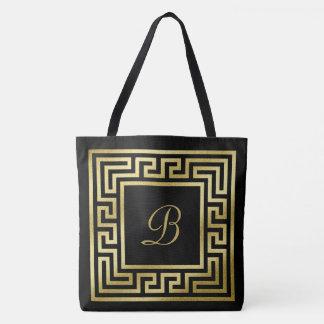Elegant Monogram Gold Glitter Greek Key Black Tote Bag